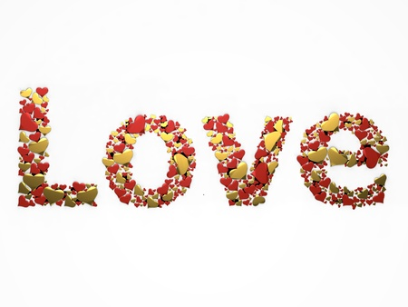 3d illustration of the word love written with glitter heart-shaped illustration