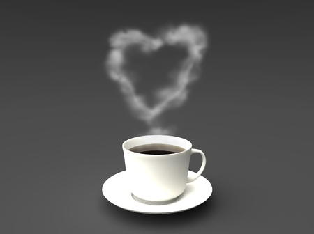3d illustration of coffeecup with a heart shaped cloud Stock Photo