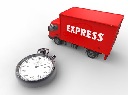 urgent: 3d illustration of express delivery with van and stopwatch
