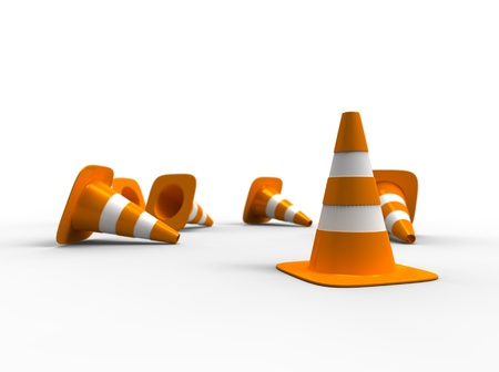 knock: 3d illustration of traffic cone knock over on white background