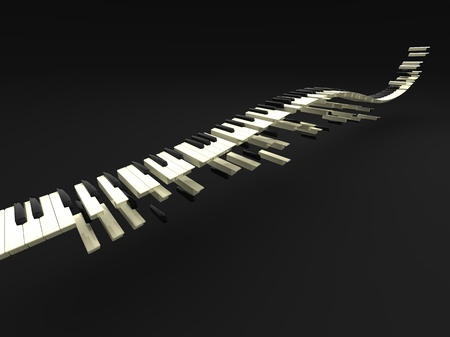 soul music: 3d illustration of wave of many long keybord Stock Photo