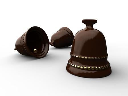 3d illustration of easter chocolate bells on white backgound illustration