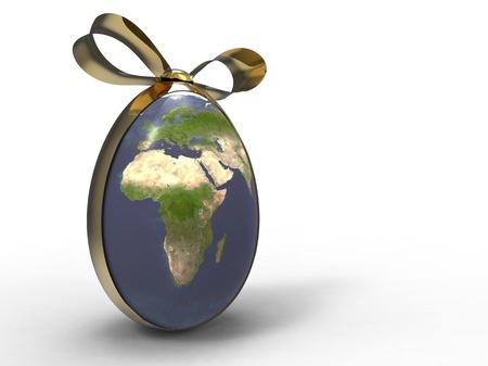 3d illustration of the earth egg shape with a golden ribbon illustration