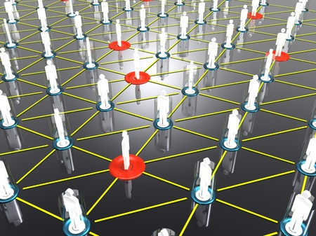3d illustration of group of people who share data information