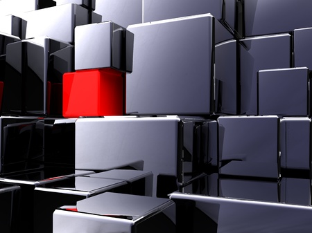 3d illustration of a lot of metallic black cubes  Stock Illustration - 9440069