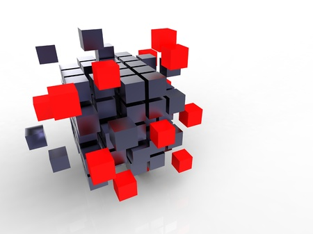 3d illustration of a lot of metallic black and red cubes  Stock Illustration - 9599253