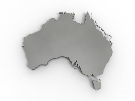 broken hill: 3d illustration of Australia reprensented by a continent gray on white background