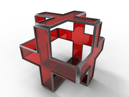 3d illustration of three dimension of red cross on white background illustration