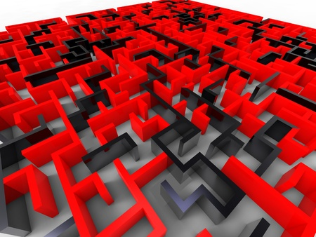 3d illustration of a huge maze with walls red and black Stock Illustration - 9701376