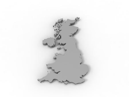 3d illustration of United Kingdom reprensented by a continent gray on white background illustration