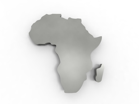 3d illustration of Africa reprensented by a continent gray on white background