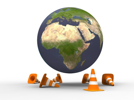 3d illustration of a world under construction with traffic cones on white background illustration
