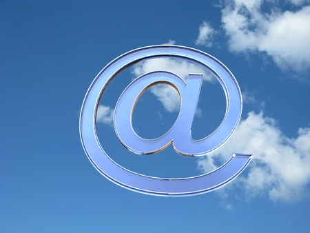 email security: 3d illustration of the blue glass at symbol in sky