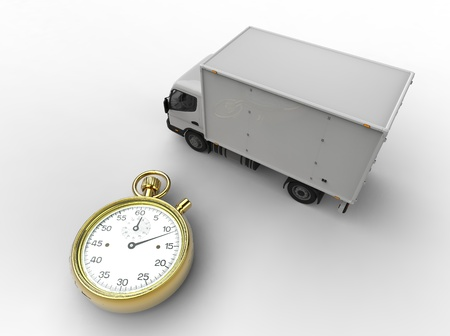 3d illustration of express delivery with van and stopwatch