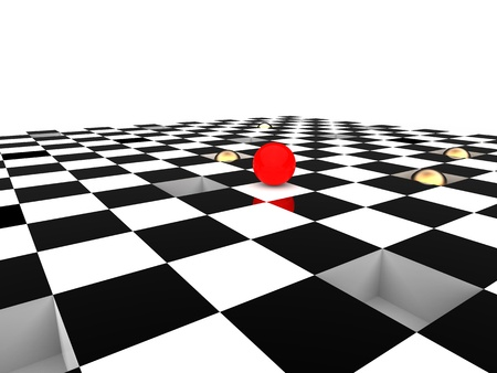 tile flooring: 3d illustration of checkerboard to illustrate with red ball the risk of strategy