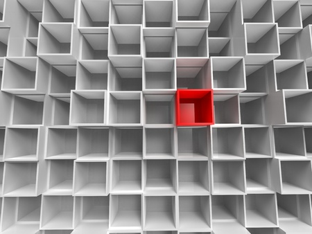 3d illustration of perspective of lot of empty white and red box
