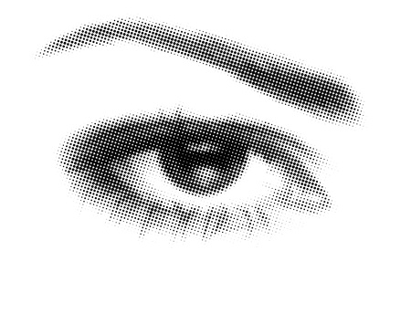 eyes closeup: 3d illustration of eye made with dots on white background