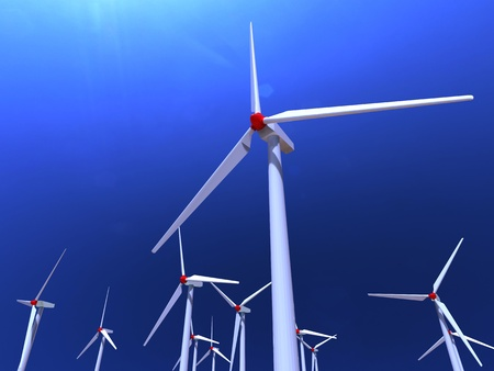 3d illustration of white wind farms on blue sky background