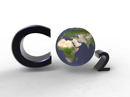 dioxido de carbono: Ilustración 3D de la influencia de dióxido de carbono en nuestro planeta Foto de archivo