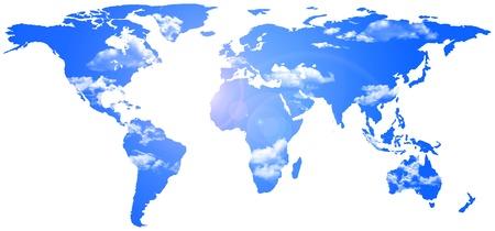 planisphere: 2d illustrazione di un planiphere dove � remplaced il fondo da un cielo azzurro con poche nuvole Archivio Fotografico