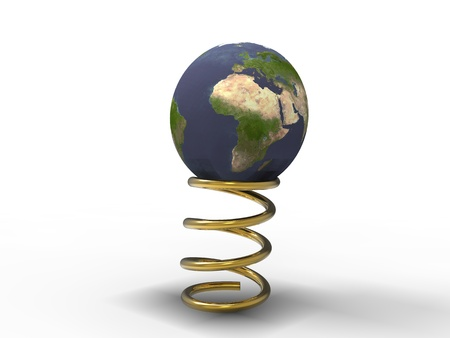 3d illustration of planet earth in the process of bouncing on a spring gold illustration