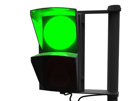 continue: 3d illustration of green traffic light on white background
