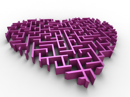 3d illustration of pink maze heart on white background Stock Photo