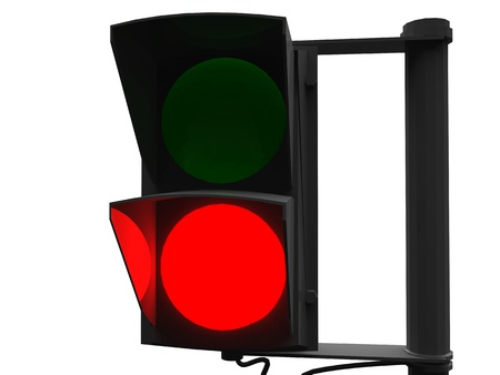 unsuccess: 3d illustration of red traffic light on white background