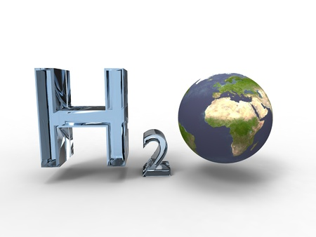3d illustration of the formula of water with the planet earth