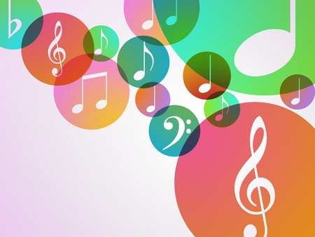illustration of music notes in bubbles of color on a white background Banque d'images