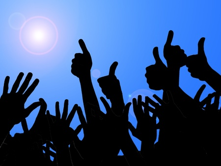 cheering fans: illustration of a party with people who have the hands to the sky Stock Photo