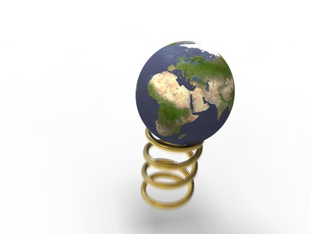 absorber: 3d illustration of planet earth in the process of bouncing on a spring gold Stock Photo