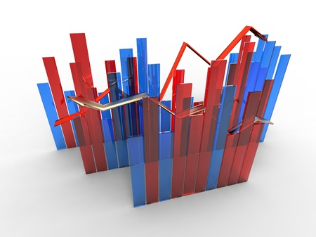 regression: 3d illustration of growth to show with arrow and graphic
