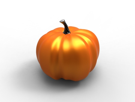3d illustration of a metallic orange pumpkin on white background illustration