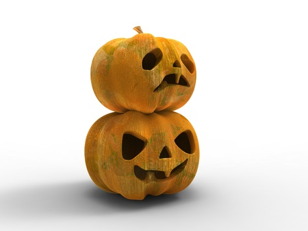 3d illustration of a two Halloween pumpkins smiling and scaring on white background