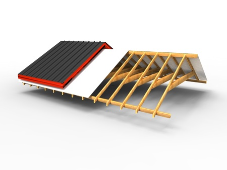 roof construction: 3d illustration of the progress of a roof on a white background