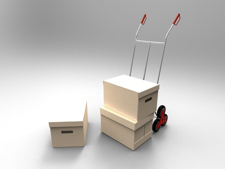 3d illustration of cardboard transported on a trolley on a gray background