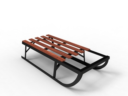 luge: 3d illustration of a wood and metal sled on a white background Stock Photo