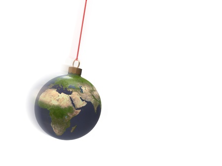 disguised: 3d illustration of planet earth disguised as Christmas balls on white background Stock Photo