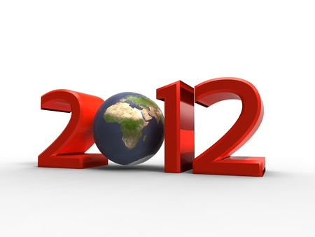 3d illustration of our planet in the new year 2012 on a white background Stock Photo