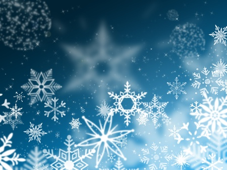 frosted glass: illustration of snowflakes falling from the blue sky night