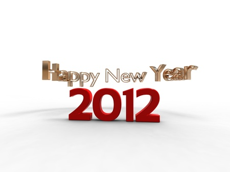 3d illustration of the new year in red with the words new year all around illustration