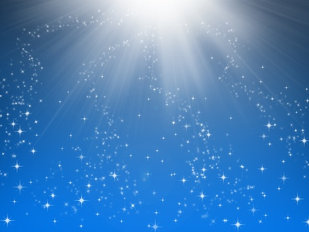 star background: illustration of stars from the light on a blue night sky