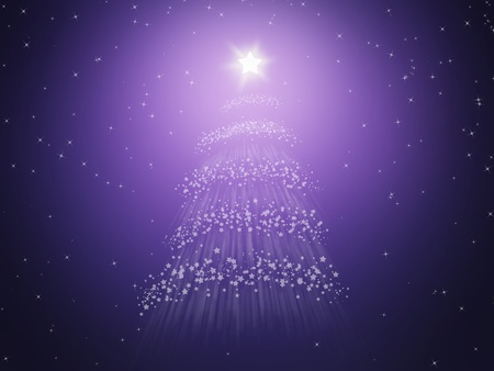 illustration of a bright star on a Christmas tree stars in a starry background