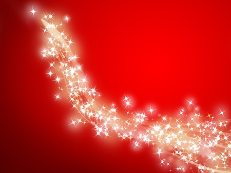 red abstract backgrounds: illustration of a trail of shooting stars on a red background