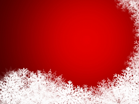 illustration of a wave of snowflakes on a red background Stock Photo