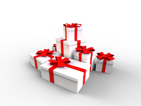 3d illustration of Gift box white with a red ribbon on white background