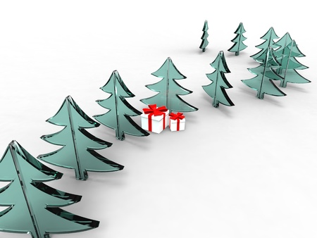 illustration of a series of Christmas tree design with gift