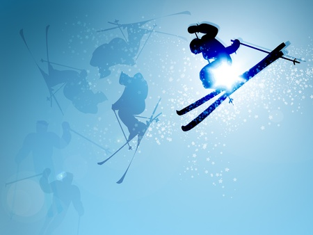 2d illustration ski jumping in mid-flight on blue sky background Stock Photo