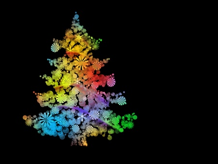 illustration of a Christmas tree full of color design decorated with stars and balls